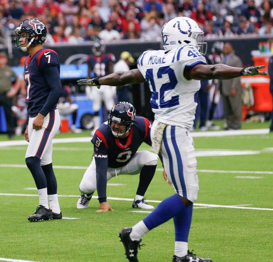 Indianapolis Colts defensive back Kenny Moore (42) celebrtes a missed field goal attempt by Houston Texans kicker Ka'imi Fairbairn (7) during the second quarter of an NFL football game at NRG Stadium on Sunday, Nov. 5, 2017, in Houston. Photo: Brett Coomer, Houston Chronicle / © 2017 Houston Chronicle