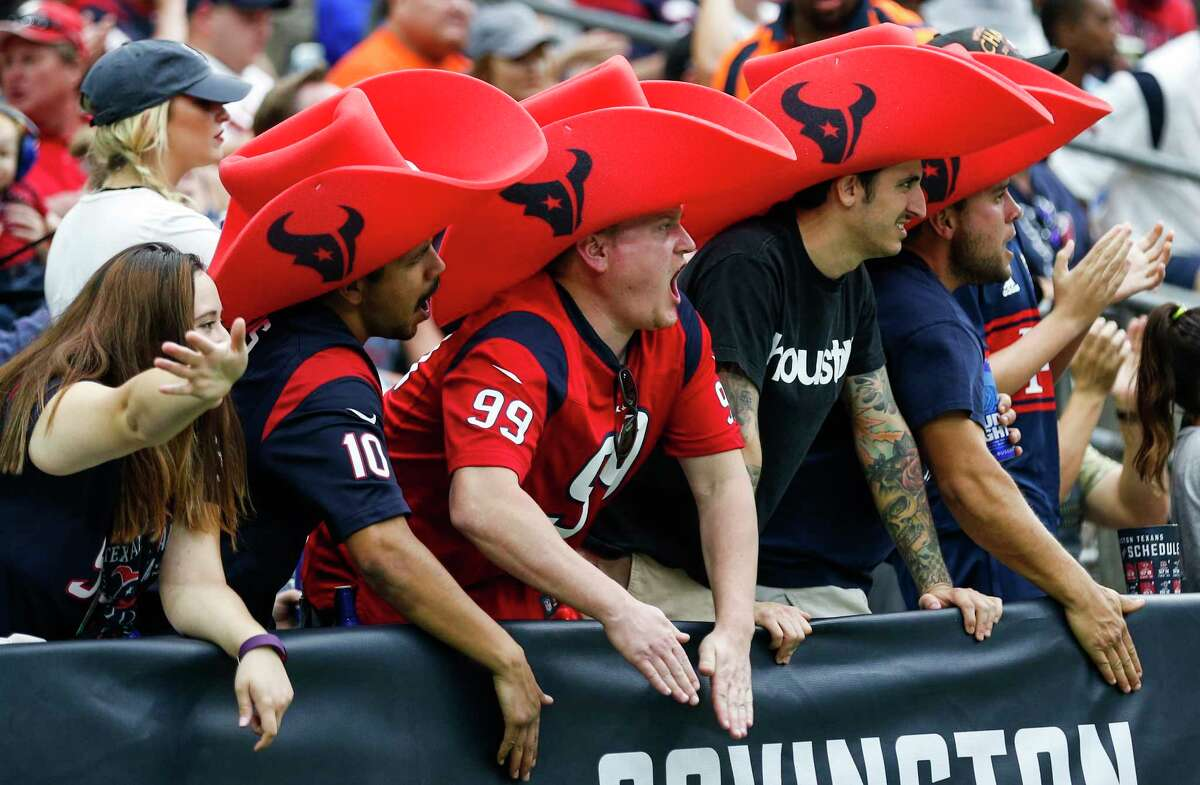 Houston Texans fans cheer during the third quarter of an NFL football game against the Indianapolis Colts at NRG Stadium on Sunday, Nov. 5, 2017, in Houston.