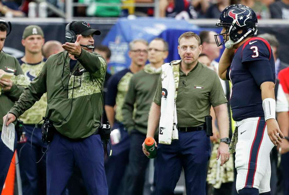 Houston Texans head coach Bill O'Brien talks to quarterback Tom Savage (3) during a time out in the third quarter of an NFL football game against the Indianapolis Colts at NRG Stadium on Sunday, Nov. 5, 2017, in Houston. Photo: Brett Coomer, Houston Chronicle / © 2017 Houston Chronicle