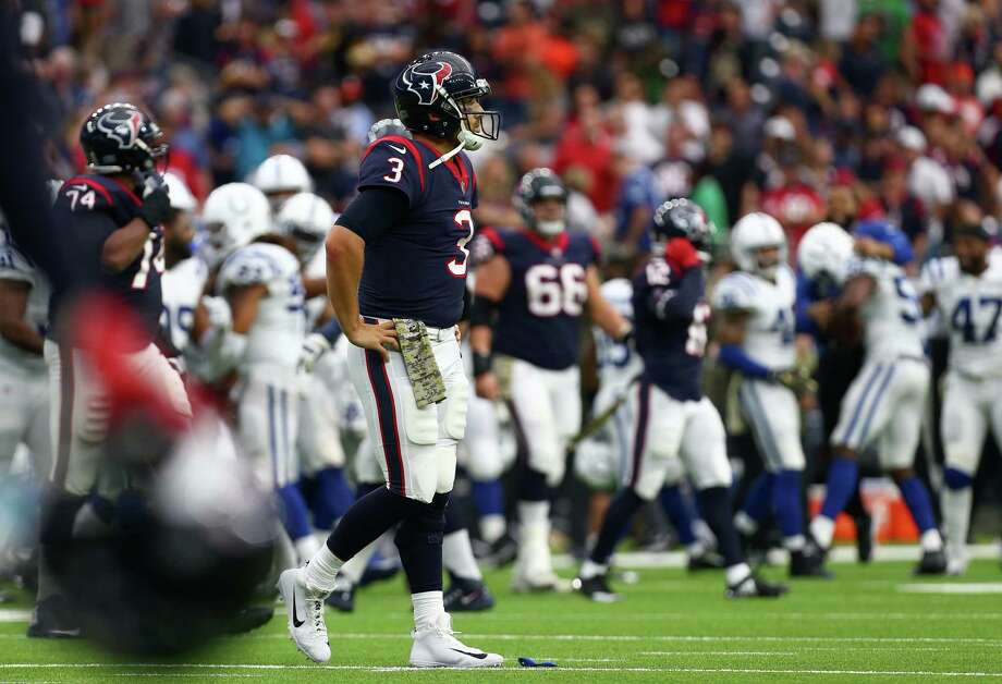 Houston Texans quarterback Tom Savage (3) walks off the field after the game against the Indianapolis Colts at NRG Stadium Sunday, Nov. 5, 2017, in Houston. The Colts won 20-14. ( Godofredo A. Vasquez / Houston Chronicle ) Photo: Godofredo A. Vasquez, Houston Chronicle / Godofredo A. Vasquez