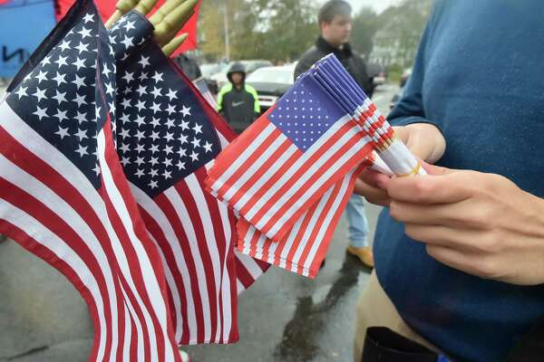 Milford,  Connecticut - Sunday, November 5, 2017:   A rainy Milford Veterans Day Parade.