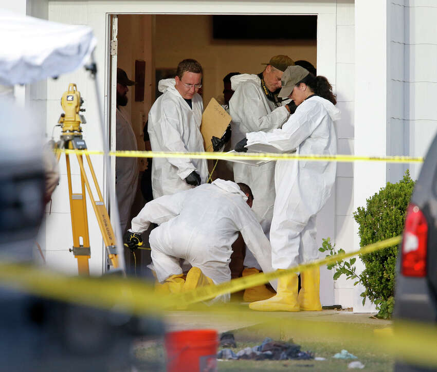 First responders work the scene of a shooting at the First Baptist Church of Sutherland Springs Sunday Nov 5, 2017.