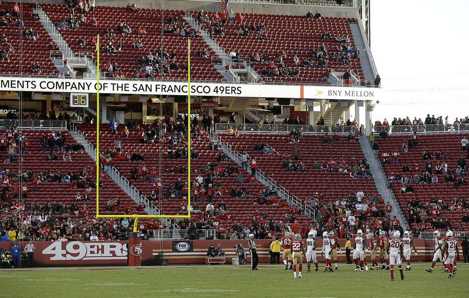 Fans at Levi's Stadium watch during the second half of an NFL football game between the San Francisco 49ers and the Arizona Cardinals in Santa Clara, Calif., Sunday, Nov. 5, 2017. (AP Photo/Ben Margot) Photo: Ben Margot, Associated Press