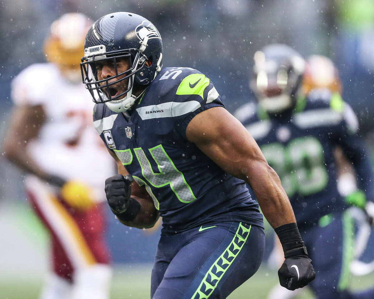 Seahawks linebacker Bobby Wagner celebrates during the first half of an NFL game against Washington at CenturyLink Field on Sunday, Nov. 5, 2017.