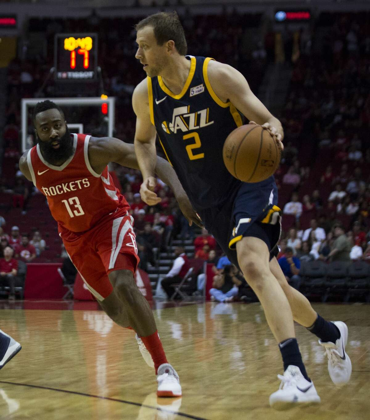 Utah Jazz forward Joe Ingles (2) is defended by Houston Rockets guard James Harden (13) during first half of the game on Sunday, Nov. 5, 2017, in Houston. ( Marie D. De Jesus / Houston Chronicle )