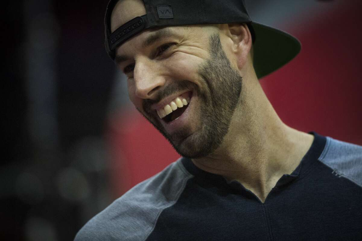 Houston Astros pitcher Mike Fiers is all smiles as he greets the audience at the Toyota Center during a game between the Astros and the Utah Jazz on Sunday, Nov. 5, 2017, in Houston. ( Marie D. De Jesus / Houston Chronicle )