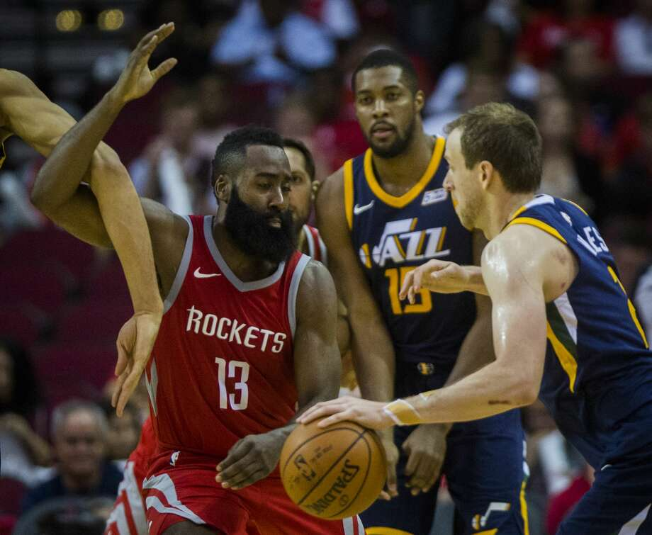 Houston Rockets guard James Harden (13) plays defense against Utah Jazz forward Joe Ingles (2) during the second half, Sunday, Nov. 5, 2017, at the Toyota Center in Houston. The Houston Rockets won against the Utah Jazz 137-110. ( Marie D. De Jesus / Houston Chronicle ) Photo: Marie D. De Jesus/Houston Chronicle