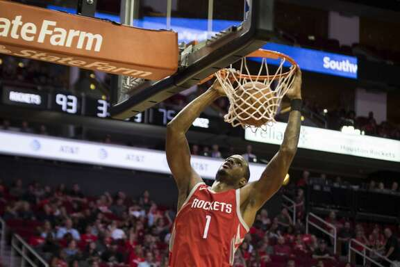 Houston Rockets forward Trevor Ariza (1) dunks the ball during the second half against the Utah Jazz on Sunday, Nov. 5, 2017, in Houston. The Rockets won 137-110. ( Marie D. De Jesus / Houston Chronicle )