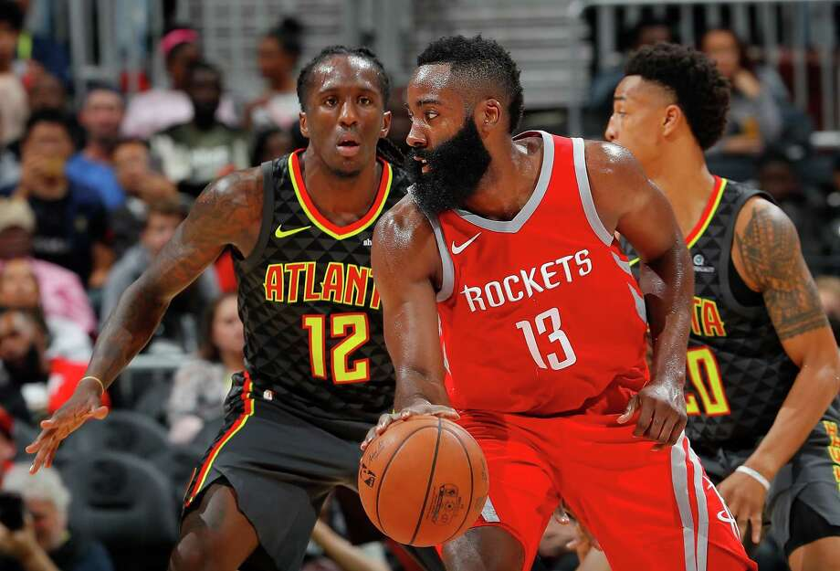 ATLANTA, GA - NOVEMBER 03:  James Harden #13 of the Houston Rockets looks to drive against Taurean Prince #12 of the Atlanta Hawks at Philips Arena on November 3, 2017 in Atlanta, Georgia.  NOTE TO USER: User expressly acknowledges and agrees that, by downloading and or using this photograph, User is consenting to the terms and conditions of the Getty Images License Agreement.  (Photo by Kevin C. Cox/Getty Images) Photo: Kevin C. Cox, Staff / 2017 Getty Images