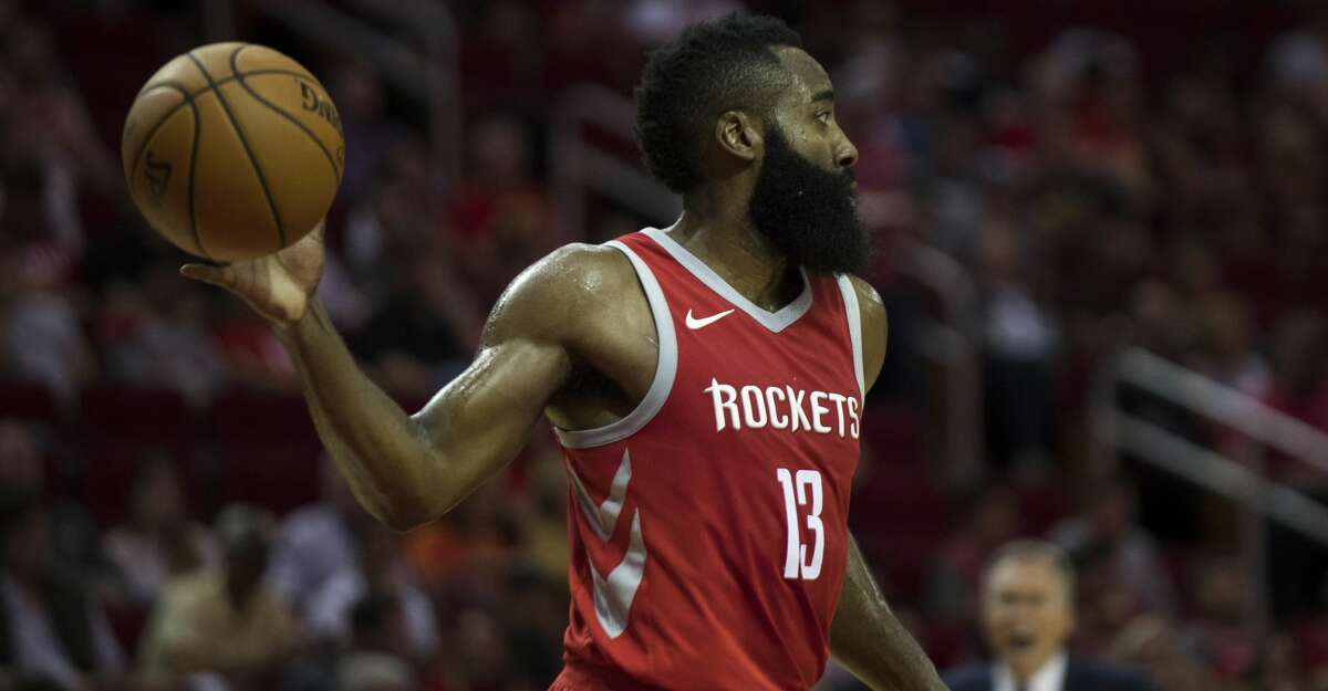 Houston Rockets guard James Harden (13) makes a pass during the game against the Utah Jazz, Sunday, Nov. 5, 2017, at the Toyota Center in Houston. Harden scored 56 points for the Rockets. ( Marie D. De Jesus / Houston Chronicle )