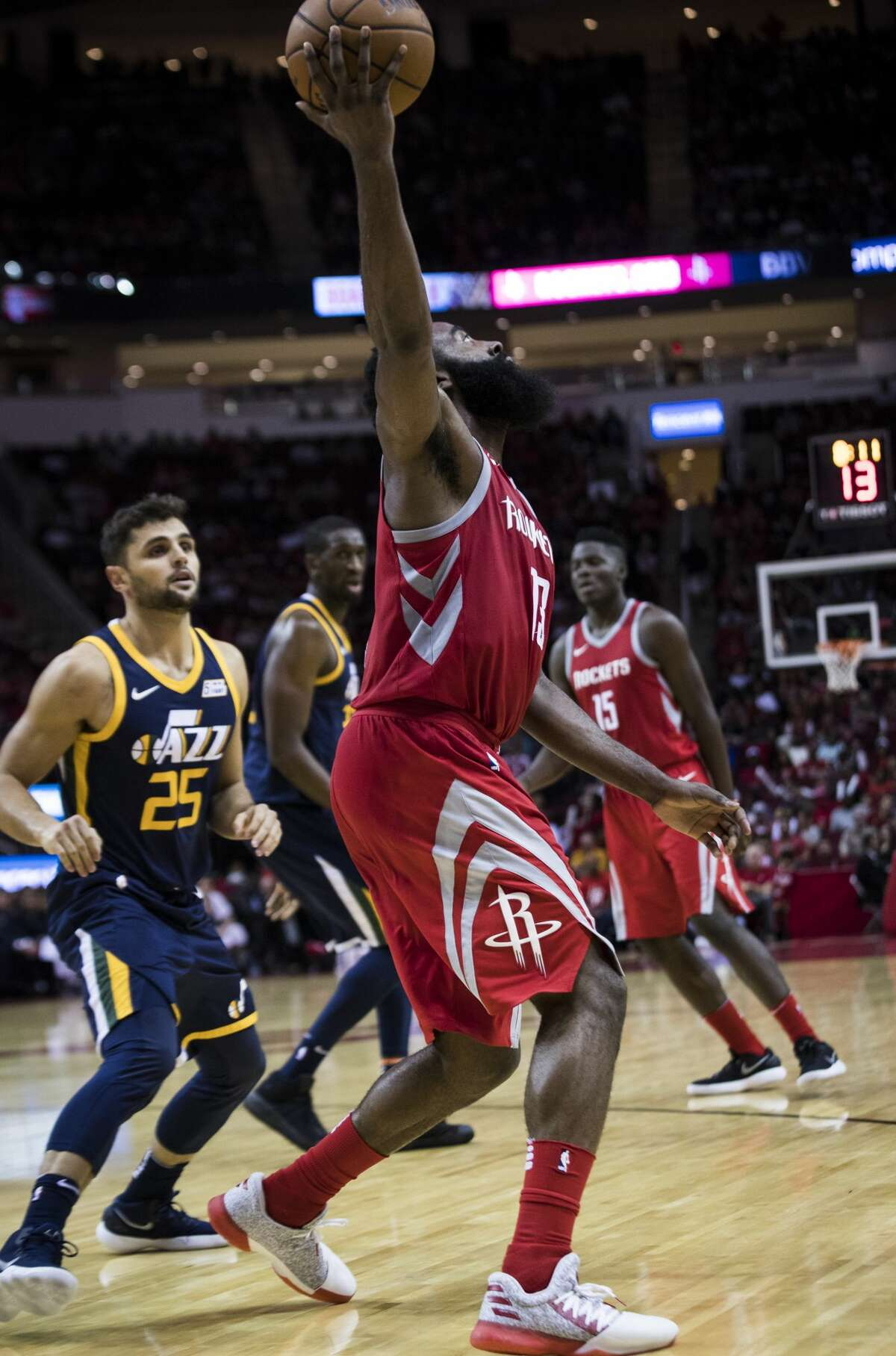 Houston Rockets guard James Harden (13) extends his arm to catch a pass during the game against the Utah Jazz on Sunday, Nov. 5, 2017, in Houston. The Rockets won 137-110 against the Utah Jazz. ( Marie D. De Jesus / Houston Chronicle )