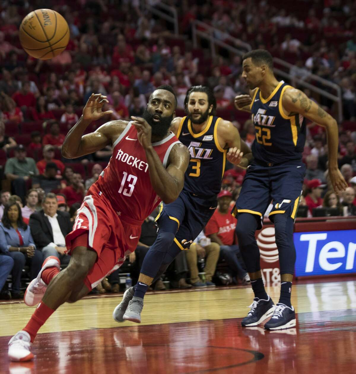 Houston Rockets guard James Harden (13) prepares to catch a pass under the pressure of Utah Jazz guard Ricky Rubio (3) and Utah Jazz forward Thabo Sefolosha (22) on Sunday, Nov. 5, 2017, at the Toyota Center in Houston. ( Marie D. De Jesus / Houston Chronicle )
