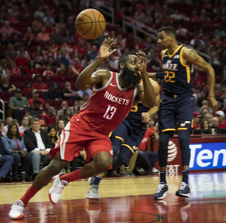 Houston Rockets guard James Harden (13) prepares to catch a pass under the pressure of Utah Jazz guard Ricky Rubio (3) and Utah Jazz forward Thabo Sefolosha (22) on Sunday, Nov. 5, 2017, at the Toyota Center in Houston. ( Marie D. De Jesus / Houston Chronicle ) Photo: Marie D. De Jesus/Houston Chronicle