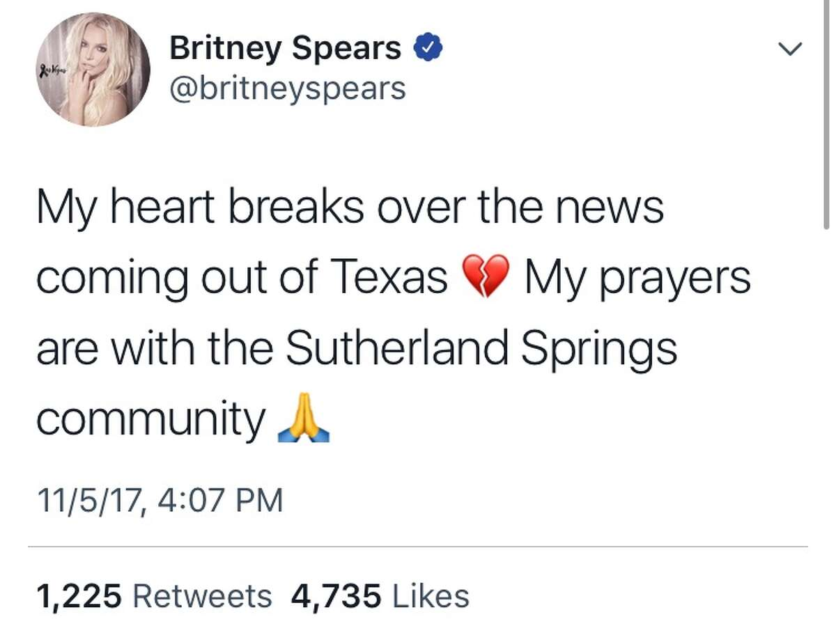 Celebrities reacted Sunday to news that 26 people were killed in a church in Sutherland Springs, Texas.