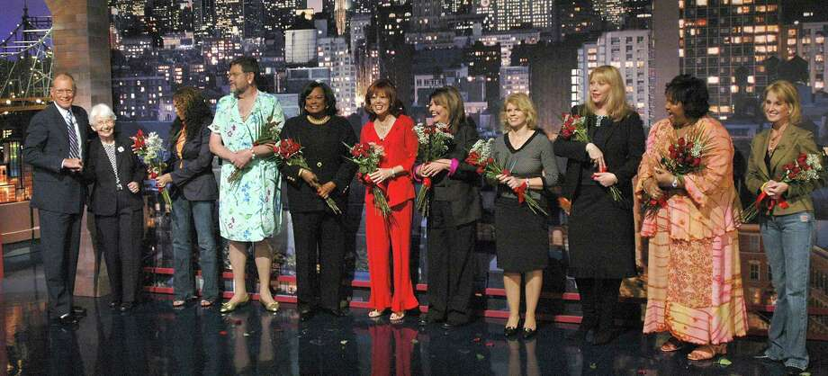 "Just in time for Mother's Day, ten celebrity mothers present the ""Top Ten Pieces of Advice I Gave My Celebrity Child"" during a taping of the ""Late Show with David Letterman"" Friday, May 7, 2004 in New York. From left to right are: David Letterman with his mother, Dorothy; Beyonce's mother, Tina;  Late Show writer Gerard Mulligan posing as the mother of Julia Roberts; Tyra Banks' mother, Carolyn; Carson Daly's mother, Pattie; Jimmy Fallon's mother, Gloria; Avril Lavigne's mother, Judy; Liv Tyler's mother, Bebe; Stephon Marbury's mother, Mabel; and, Lance Armstrong's mother, Linda  (AP Photo/JP Filo, CBS) Photo: JP FILO / CBS"