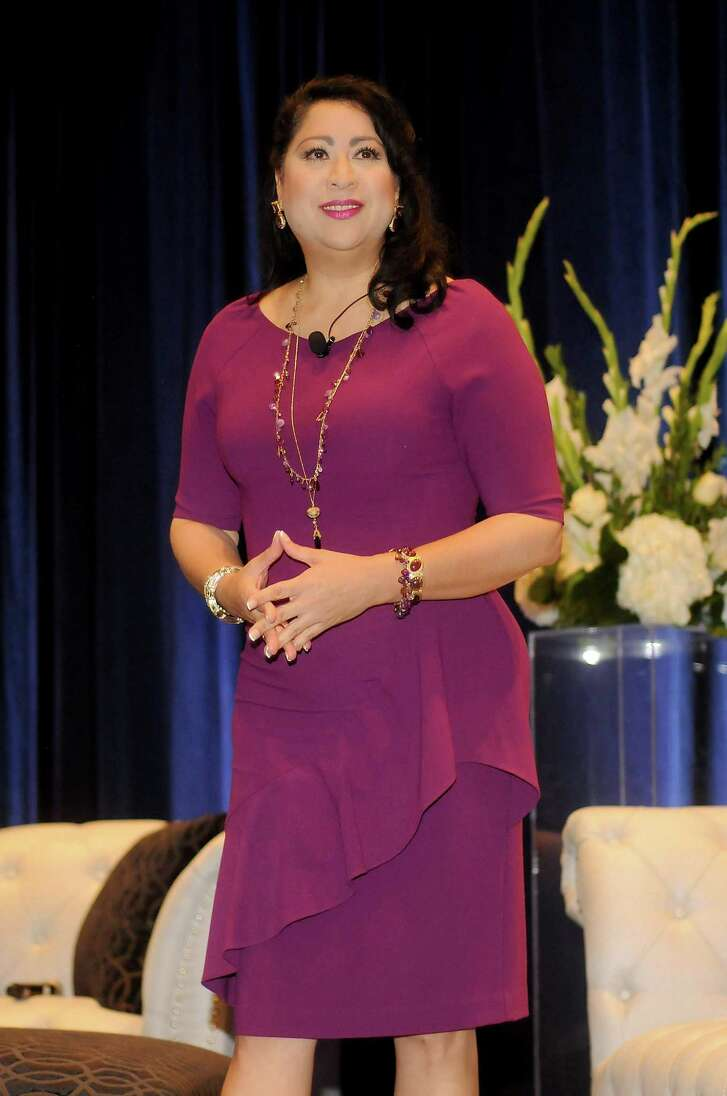 Houston Hispanic Chamber of Commerce president Dr. Laura Murillo speaks at the Hispanic Chamber of Commerce's annual Women's Leadership Conference and Business Expo at the Royal Sonesta Hotel Friday June 30, 2017. (Dave Rossman Photo)