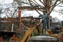 A statue is undamaged at the Fountaingrove Golf Club in Santa Rosa, Calif. on Thursday, Nov. 2, 2017. Fountaingrove hopes to reopen the course in mid-November despite its clubhouse and other buildings getting burned to the ground in last month's Tubbs Fire.