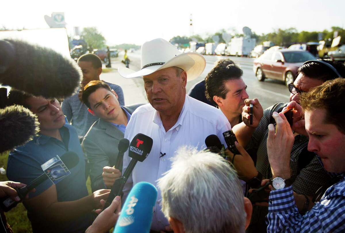 Wilson County Sheriff Joe Tackitt Jr. talks to the media along Highway 87 across the street from the First Baptist Church of Sutherland Springs, Monday morning, Nov. 6, 2017, in Sutherland Springs.