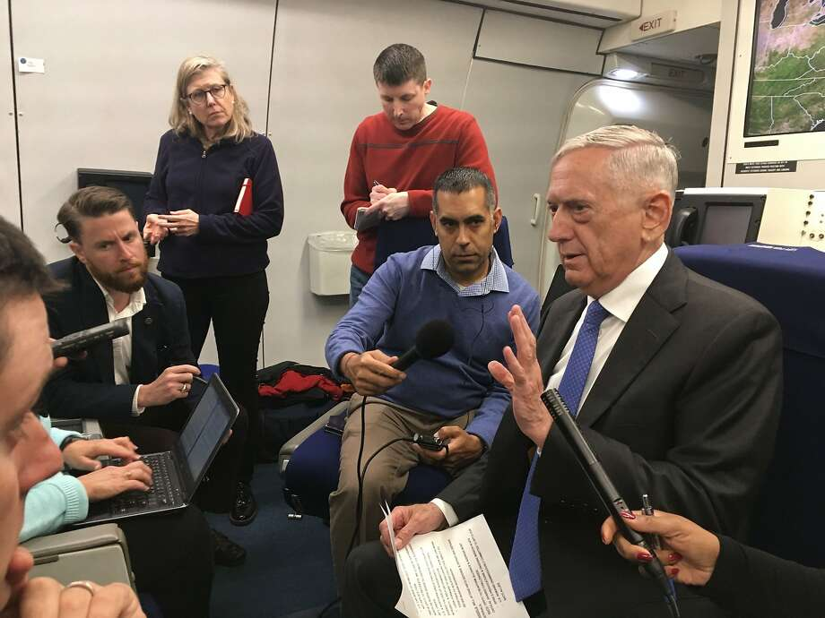Defense Secretary Jim Mattis briefs reporters on a flight to Helsinki, where he will confer with allies. Photo: THOMAS WATKINS, AFP/Getty Images