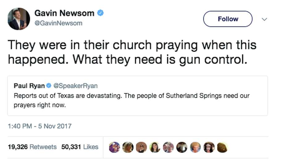 Twitter users respond to the Texas mass shooting on Sunday. California Lieutenant Governor Gavin Newsom was among those politicians, social media users and rights organizations calling out for increased gun control. Photo: Twitter Screen Grab