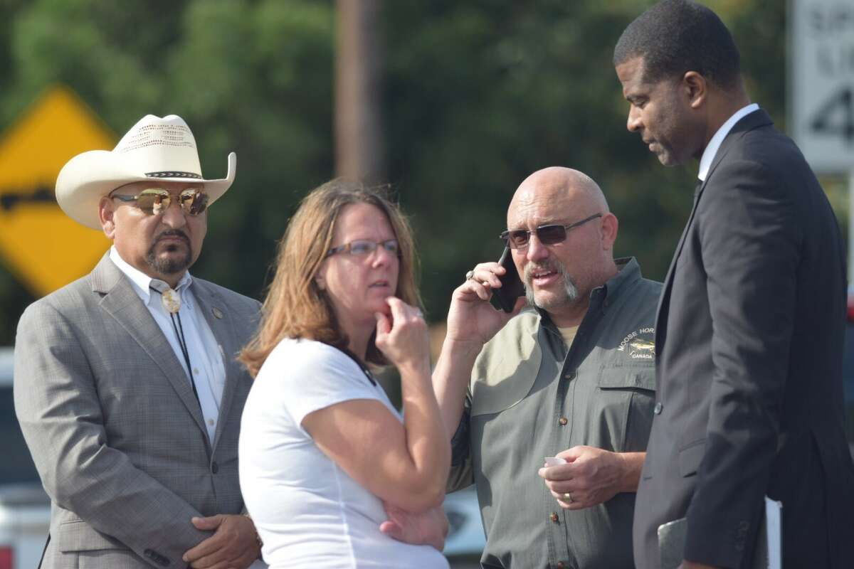 The pastor of the First Baptist Church in Sutherland Springs stands with his wife before a press conference Monday morning.