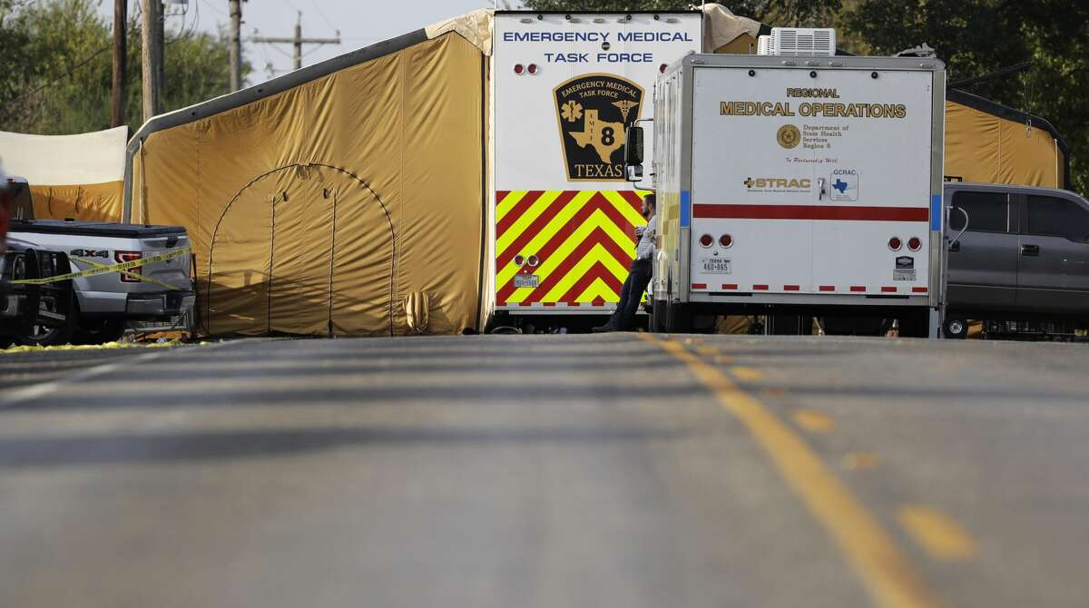 A portable medical facility sits at the scene of a shooting at the First Baptist Church of Sutherland Springs, Monday, Nov. 6, 2017, in Sutherland Springs, Texas. A man opened fire inside the church in the small South Texas community on Sunday, killing more than 20 and wounding many. (AP Photo/Eric Gay)