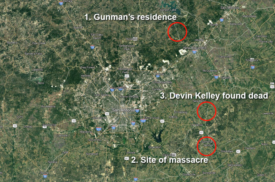 Authorities provided additional information, including a rough timeline of what happened at the First Baptist Church in Sutherland Springs, in a press conference Sunday evening. Devin Kelley was spotted at a gas station across the street from the church, wearing all black, around 11:20 a.m. From there he crossed the street and opened fire outside the church. Photo: San Antonio Express-News