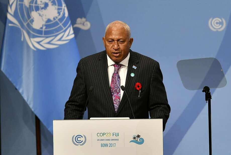 Fijian Prime Minister Frank Bainimarama speaks to delegates at the climate talks in Bonn, Germany. Photo: Martin Meissner, Associated Press