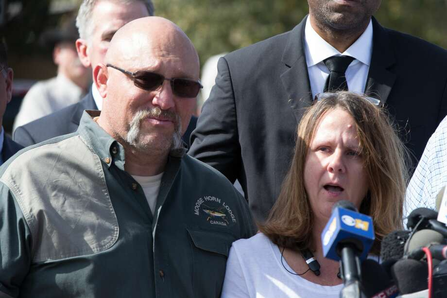 Pastor Frank Pomeroy and his wife Sherri speak at a press conference on November 6, 2017 at the First Baptist Church in Sutherland Springs, Texas following a mass shooting that left 26 people dead including their 14 year old daughter. A gunman wearing all black armed with an assault rifle opened fire on a small-town Texas church during Sunday morning services, killing 26 people and wounding 20 more in the last mass shooting to shock the United States. Photo: SUZANNE CORDEIRO/AFP/Getty Images