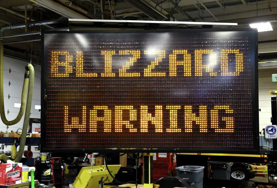A New York State Thruway Authority mobile road sign displays one the new winter warnings that can be used this season on Monday, Nov. 6, 2017, at the Albany Division Maintenance Garage in Albany, N.Y. (Will Waldron/Times Union) Photo: Will Waldron, Albany Times Union / 20042047A