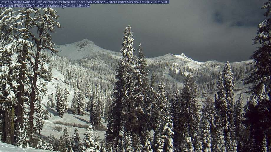 """The National Weather Service Sacramento tweeted an image of Mount Lassen National Park """"looking like winter"""" after a series of storms on Nov. 5, 2017. Photo: Mount Lassen National Park"""