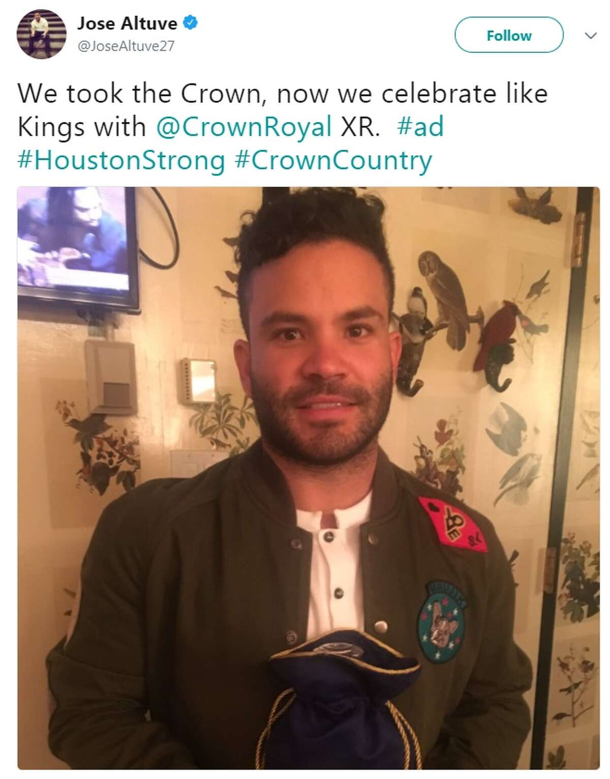 Jose Altuve tweeted he would be celebrating the Astros' World Series win by drinking Crown Royal.