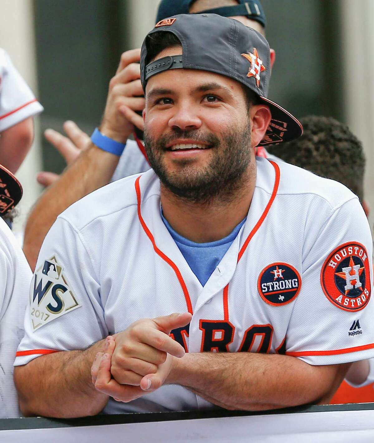 Jose Altuve of the Houston Astros looks out at the crowd during the Houston Astros Victory Parade on November 3, 2017 in Houston, Texas. The Astros defeated the Los Angeles Dodgers 5-1 in Game 7 to win the 2017 World Series.