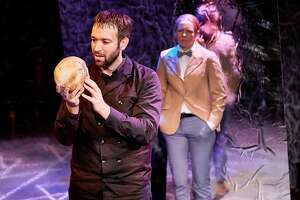 """From left: William J. Brown III as the title character and Kate Rose Reynolds as Horatio in Arabian Shakespeare Festival's """"Hamlet."""""""