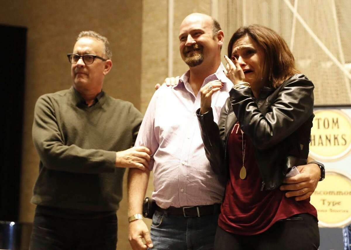 Tears and excitement swirled around an epic marriage proposal involving Tom Hanks and a San Antonio couple at Saturday's Texas Book Festival.