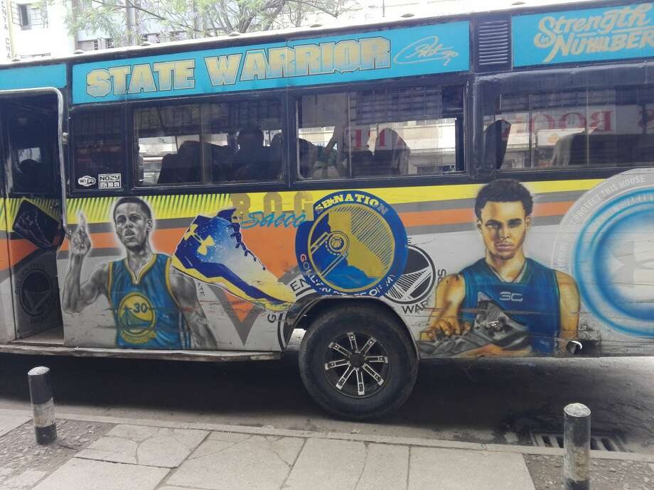 A matatu public transit bus in Nairobi, Kenya decorated with Stephen Curry and Warriors designs. Photo: @RealJamesKarimi/Courtesy