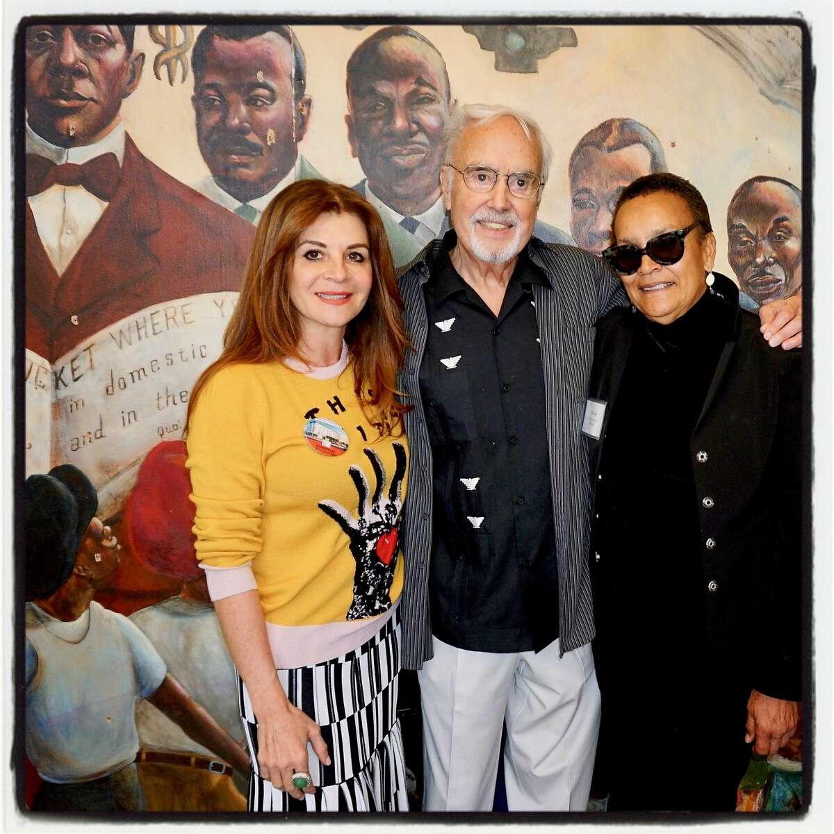 Booker T. Washington Center trustee Farah Makras (left) with John Burton and center director Pat Scott at rebuilt center. Oct. 21, 2017.