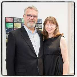 Nion McEvoy and his partner, Leslie Berriman, at the McEvoy Arts Foundation opening. Oct. 28, 2017.