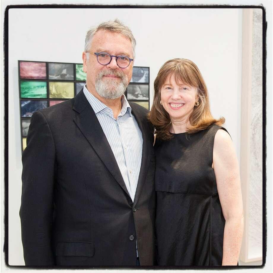 Nion McEvoy and partner Leslie Berriman at the McEvoy Arts Foundation opening Oct. 28, 2017. Photo: Drew Altizer
