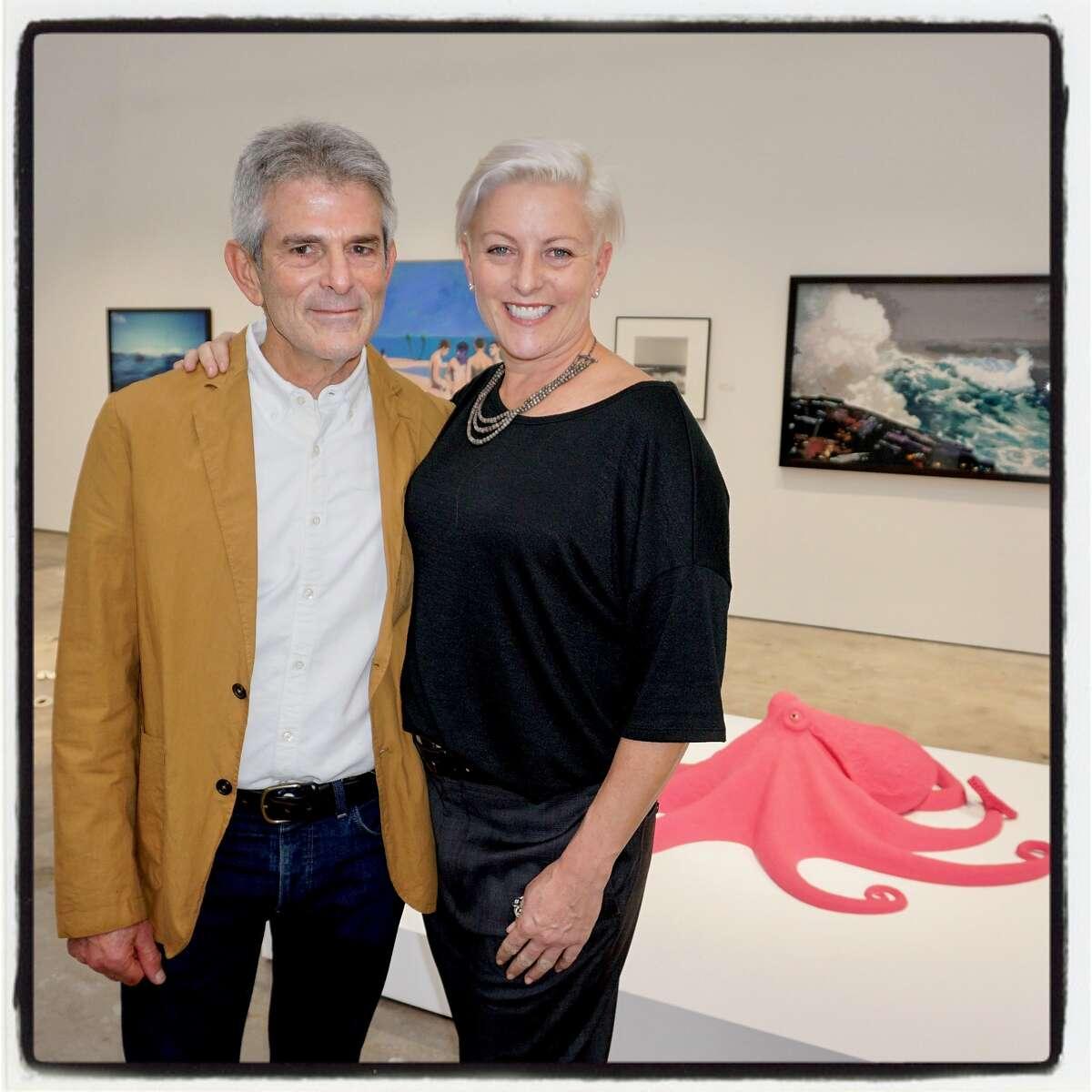 Gallerist Jeffrey Fraenkel and 500 Capp Street founder Carlie Wilmans at the McEvoy Arts Foundation opening. Oct. 28, 2017.