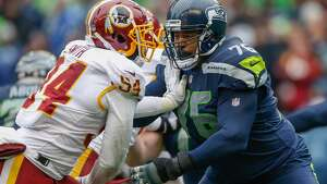 SEATTLE, WA - NOVEMBER 05:  Offensive tackle Duane Brown #76 of the Seattle Seahawks pass blocks against linebacker Mason Foster #54 of the Washington Redskins at CenturyLink Field on November 5, 2017 in Seattle, Washington. The Redskins beat the Seahawks 17-14. (Photo by Otto Greule Jr/Getty Images)