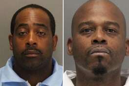 Tramel McClough, 46, (left) and John Bivins, 47, both of East Palo Alto, were arrested on suspicion of committing an armed robbery Thursday night at a Verizon store in Sunnyvale.