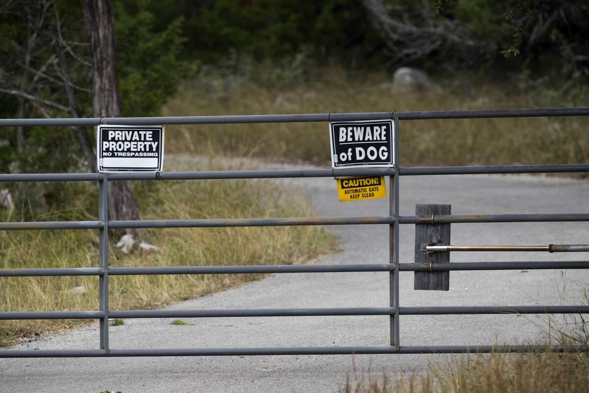 NEW BRAUNFELS, TX - NOVEMBER 6: The gate of the home and property of Devin P. Kelley November 6, 2017 near New Braunfels, Texas. Kelley was the alledged gunman that killed at least 26 people and as many as 20 injured in mass shooting at First Baptist Church in Sutherland Springs, Texas. (Photo by Erich Schlegel/Getty Images)