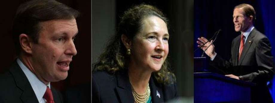 U.S. Sen. Chris Murphy, U.S. Rep. Elizabeth Esty, U.S. Sen. Richard Blumenthal Photo: /