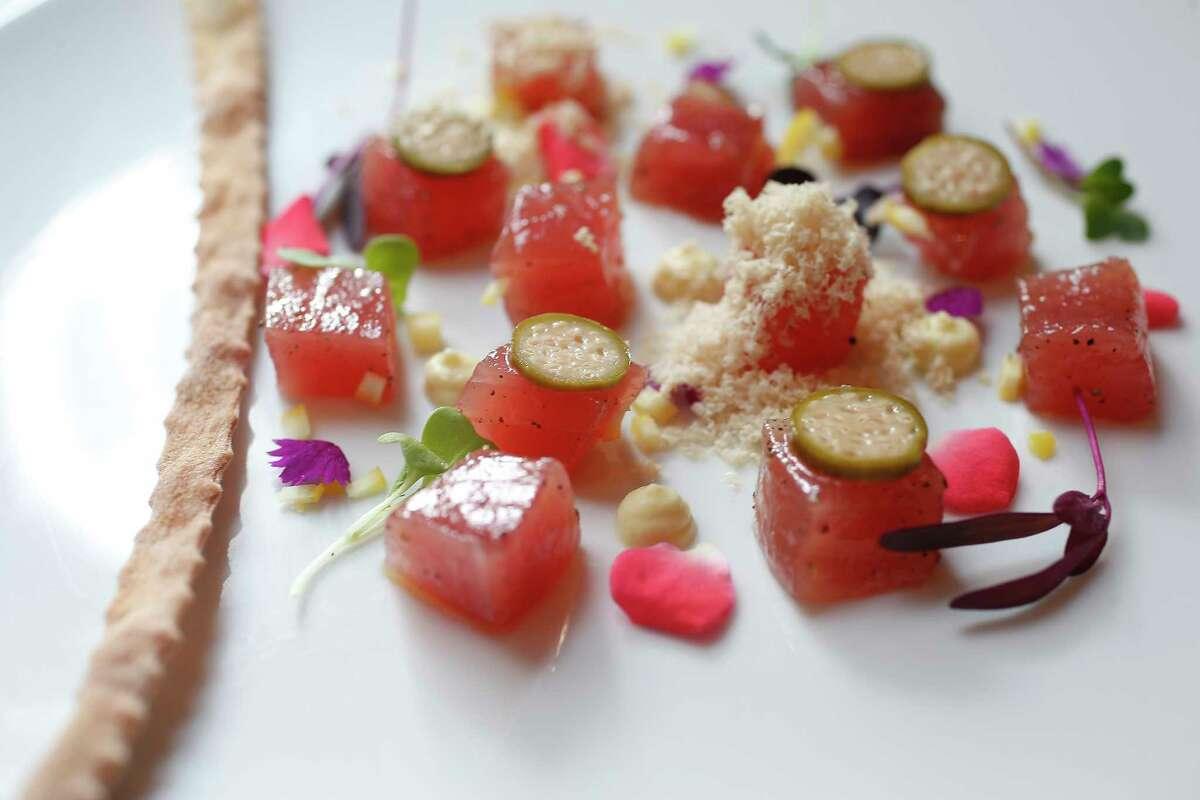 Tuna crudo with foie gras at Potente