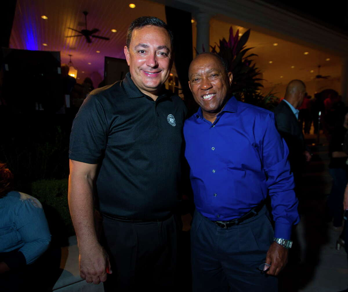 """Houston Police Chief Art Acevedo and Mayor Sylvester Turner at the Houston Police Foundation Board of Director's """"True Blue"""" Gala on Saturday, Nov. 4, 2013, in River Oaks."""