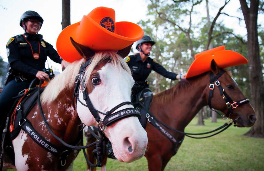 """Police horses don Astros swag as they greet guests outside of Tilamn Ferrite's house for the Houston Police Foundation Board of Director's """"True Blue"""" Gala on Saturday, Nov. 4, 2013, in River Oaks. Photo: Annie Mulligan / @ 2017 Annie Mulligan"""