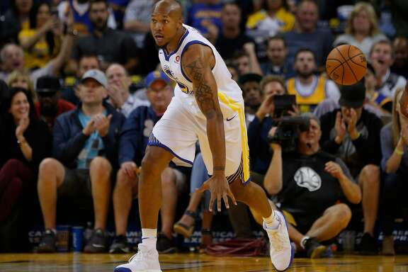Golden State Warriors forward David West (3) during the fourth quarter of an NBA game between the Golden State Warriors and Toronto Raptors at Oracle Arena on Wednesday, Oct. 25, 2017, in Oakland, Calif. The Warriors won 117-112.