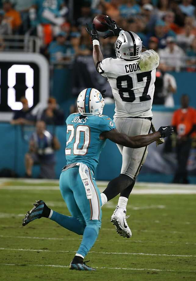 Oakland Raiders tight end Jared Cook (87) grabs a pass over Miami Dolphins free safety Reshad Jones (20), during the first half of an NFL football game, Sunday, Nov. 5, 2017, in Miami Gardens, Fla. (AP Photo/Wilfredo Lee) Photo: Wilfredo Lee, Associated Press