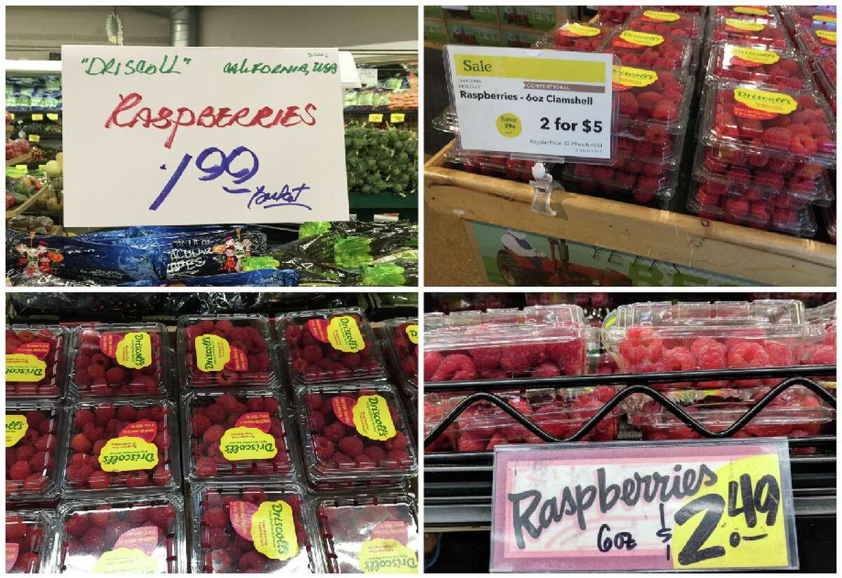 RASPBERRIES Berkeley Bowl:$1.99 Whole Foods:$2.50 Trader Joe's:$2.49